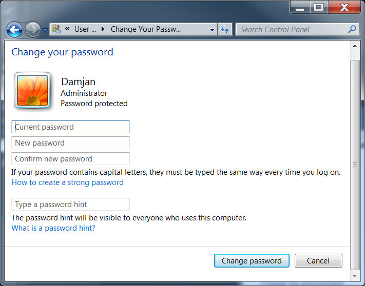 how to change pc password windows 8